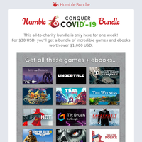 Help conquer COVID-19 with a bundle of games and ebooks – 100% to charity!!