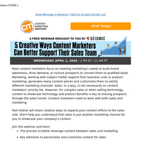 [Reminder to Register] 5 Creative Ways Content Marketers Can Better Support Their Sales Team