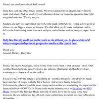Re: The future of Daily Kos (please read)