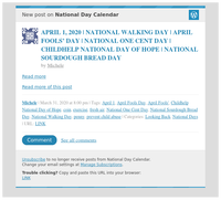 [New post] APRIL 1, 2020 | NATIONAL WALKING DAY | APRIL FOOLS' DAY | NATIONAL ONE CENT DAY | CHILDHELP NATIONAL DAY OF HOPE | NATIONAL SOURDOUGH BREAD DAY