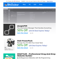 doogiePIM, O&O PowerPack, DRAFTLER - Professional Drag-And-Drop Website Builder, Simpliv Site-Wide Sale, Hard Disk Sentinel Standard Edition at BitsDuJour Today