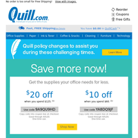Hello Quill Customer, We're Giving You $30 Off Your Order + Free Gift Offers