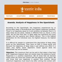 Ananda: Analysis of Happiness in the Upanishads