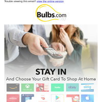 Stay In And Shop Online To Get A Free Gift Card Of Your Choice
