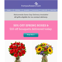 50% Off Roses! Starting from $24.99