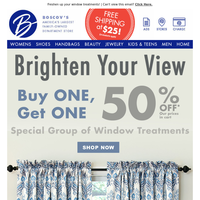 Buy One Get One 50% off Window Treatments