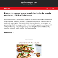 News Alert: Protective gear in national stockpile is nearly depleted, DHS officials say
