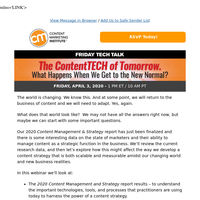[New Webinar] The ContentTECH of Tomorrow.  What Happens When We Get to the New Normal?