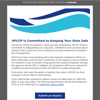 OFCCP is Committed to Keeping Your Data Safe