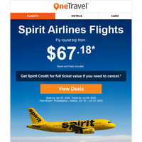 Fly Spirit - No Airline Change Fees!