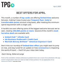 ✈ The 4 Best Card Offers to Sign up for in April & More Daily News From TPG ✈