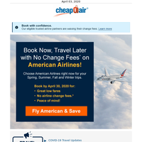 American Airlines: Book Now for Less, Fly Later