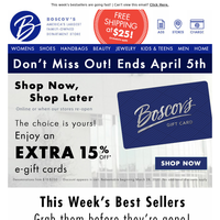 Ends soon - EXTRA 15% off e-gift cards!