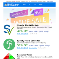 Simpliv Site-Wide Sale, Spotify Music Converter, Resource Tuner, The Professional Graphic Bundle (70,000+ Resources), Business Plan Pro Complete, 1AVCapture at BitsDuJour Today