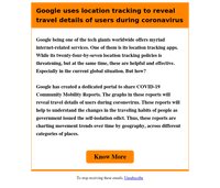 Google uses location tracking to reveal travel details