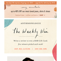 Write a review. Win a $100 Gift Card!
