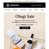 Save 25% on Obagi—sale starts now!