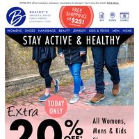 Enjoy an EXTRA 20% OFF shoes for Women, Men & Kids!