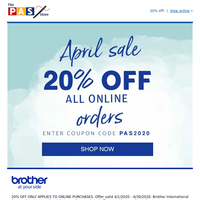PAS Store April Sale - 20% off Online Orders