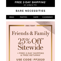 Don't Miss This...25% Off Sitewide | Friends & Family