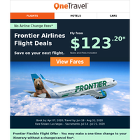Book Frontier Airlines Flights from $123.20, Travel Later