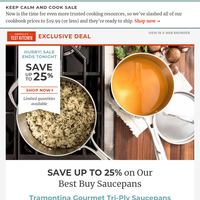Last chance to Save Up to 25% on Our Best Buy Saucepans!