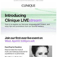 Welcome to the Clinique LIVE:stream launch👏🏻👏🏻👏🏻.