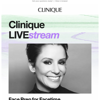 Clinique LIVE:stream starts soon 👏🏻.