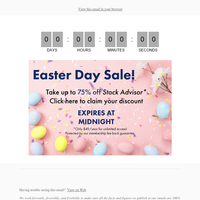 Your Easter discount is ready to be activated!