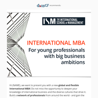 Areglobality and flexibility your values? Choose the ISM MBA