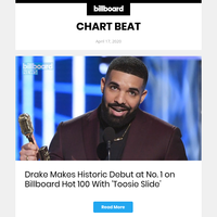 Billboard Chart Beat: Drake Makes Historic Debut At No. 1 On Hot 100 With 'Toosie Slide'
