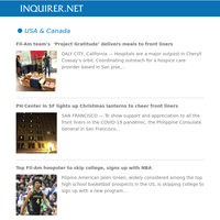 Global Nation: Fil-Am team's  'Project Gratitude' delivers meals to front liners; PH Center in SF lights up Christmas lanterns to cheer front liners; Top Fil-Am hoopster to skip college, signs up with NBA
