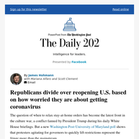 The Daily 202: Republicans divide over reopening U.S. based on how worried they are about getting coronavirus