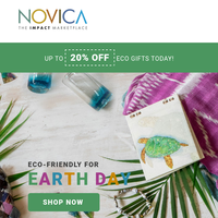 Celebrate Earth Day with up to 20% off eco-friendly treasures.