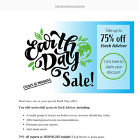 Earth Day discount expires tonight!
