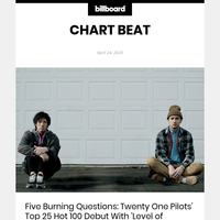 Billboard Chart Beat: Twenty One Pilots Fly High With Quarantine Anthem 'Level of Concern'