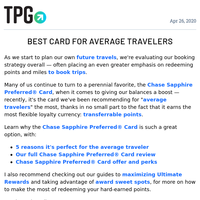✈ 5 Reasons Chase Sapphire Preferred Is Perfect for the Average Traveler & More Daily News From TPG ✈