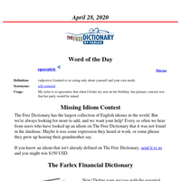 Word of the Day, April 28, 2020