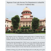Supreme Court asks Income Tax Department to refund Rs 733 crore to Vodafone Idea