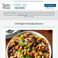 10 Budget-Friendly Dinners