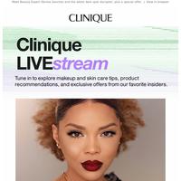 Clinique LIVE:stream starts soon.
