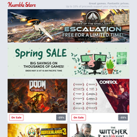 Get a FREE copy of Ashes of Singularity: Escalation + Save up to 90% off thousands of games in the Humble Store Spring Sale! Deals on Doom Eternal, Borderlands 3, Control, and many more!