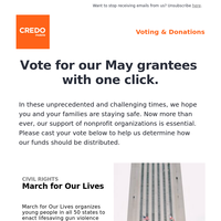 Happy Mother's Day. Don't forget to vote for our May grantees