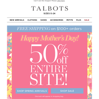 Happy Mother's Day! 🌷 50% OFF EVERYTHING!