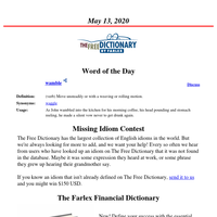 Word of the Day, May 13, 2020