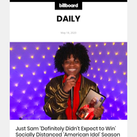 Just Sam 'Definitely Didn't Expect to Win' Socially Distanced 'American Idol' Season 18 Crown (id: 9379585)