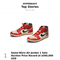 Your Weekly Round-Up: Game-Worn Air Jordan 1 Sets Auction Price Record at $560,000 USD and More