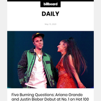 Five Burning Questions: Ariana Grande and Justin Bieber Debut at No. 1 on Hot 100 With 'Stuck With U'