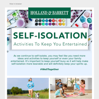 How to keep yourself entertained during Self-Isolation