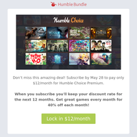 Limited time: Lock in Choice Premium for just $12 per month